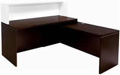 "Mocha/White 66"" L-Shaped Reception Desk with Slide Out Return"