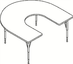 "66""W x 60""D Horseshoe Top Table"