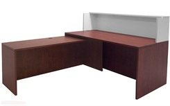 "Cherry/White 71"" L-Shaped Reception Desk with Slide Out Return"