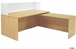 Maple/White 71� L-Shaped Reception Desk with Slide Out Return