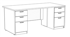 "Prestige Custom 72"" x 36"" Executive Desk"