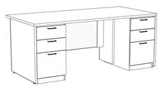 "Prestige Custom 72"" x 36"" Executive Desk"