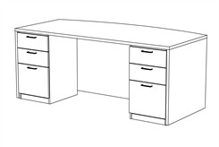 "72"" x 42"" Custom Desk with Drawers"