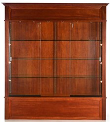 "75"" Wide Wood Veneer Traditional Display Case w/ Side Lights"
