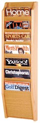 Oak Magazine Wall Rack Series -- 7 Magazine Pocket Wall Rack