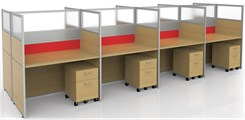 "Sync Double-Sided Custom Cubicles - 57""H 8-Person Workstation"