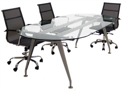 8' Oval Glass Conference Table.