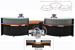 2-Person Glass Top Curved Wave ADA Reception Desk