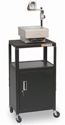 Adjustable AV Cart w/Locking Cabinet