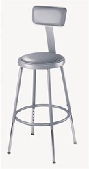 "Adjustable Height Heavy-Duty Padded Lab Stools w/Backrest - 19""-27"" Lab Stool"