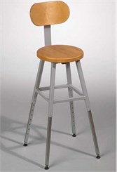 Adjustable Height Lab Stool With Back