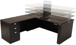Adjustable Height L-Shaped Executive Office Desk in Mocha