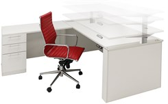 Adjustable Height L-Shaped Executive Office Desk in White