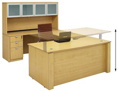 Adjustable Height U-Shaped Executive Office Desk in Maple