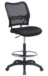 "Air Grid Back & Mesh Seat Drafting Stool w/ 27-1/2"" to 32-1/2"" Seat Height"