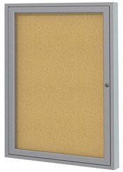 "Aluminum Frame Cork Bulletin Board - 24""X36"" 1 Door"