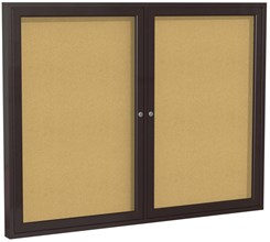 "Aluminum Frame Cork Bulletin Board - 48"" X 36"" 2 Door"