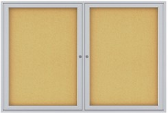 "Aluminum Frame Cork Bulletin Board - 60"" X 36"" 2 Door"