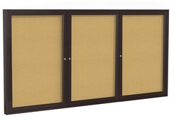 "Aluminum Frame Cork Bulletin Board  - 72""X36""  3 Door"