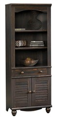 Antiqued Black Bookcase with Doors