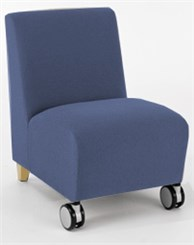 Armless Guest Chair w/ Casters in Standard Fabric or Vinyl
