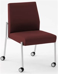 Mystic Armless Guest Chair w/Casters in Standard Fabric or Vinyl