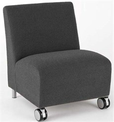 Bariatric Armless Guest Chair w/ Casters in Standard Fabric or Vinyl