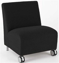 Bariatric Armless Guest Chair w/ Casters in Upgrade Fabric or Healthcare Vinyl