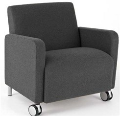 Bariatric Guest Chair w/ Casters in Standard Fabric or Vinyl