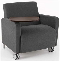 Bariatric Guest Chair w/ Casters & Swivel Tablet in Standard Fabric or Vinyl