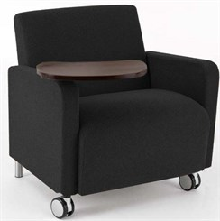 Bariatric Guest Chair w/ Casters & Swivel Tablet in Upgrade Fabric or Healthcare Vinyl