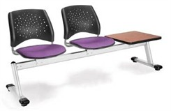 2-Seat + Table Beam Seating with Fabric Padded Seats