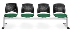 4-Seat Beam Seating with Fabric Padded Seats