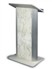 Bianco Marble with Satin Anodized Aluminum Lectern