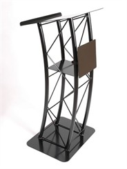 Black Aluminum Curved Truss Lectern w/Sign Plate