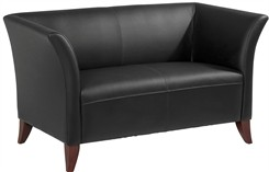 Office Star SL15 Series Black Leather Love Seat