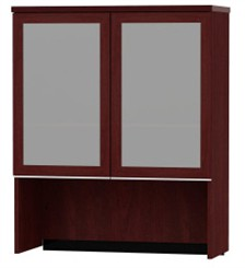 Bookcase Hutch with Glass Doors