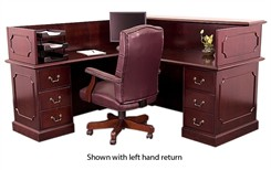 Franklin Traditional Dark Cherry Veneer Reception Desk