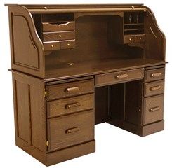 Solid Oak Rolltop Computer Desk in Briar Finish - In Stock
