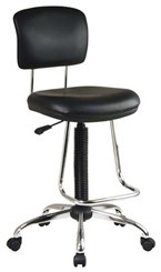 "Vinyl Drafting Chair with Chrome Teardrop Footrest and 26"" to 36"" Seat Height"