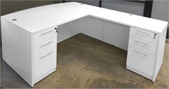 White L-Shaped Bow Front Conference Desk w/6 Drawers