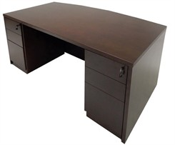 Espresso Bow Front Conference Desk w/6 Drawers