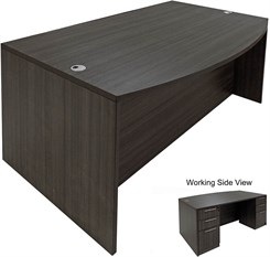 Charcoal Bow Front Conference Desk w/6 Drawers