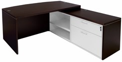 Mocha Bow Front Conference L-Desk w/Slide Out Return
