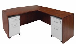 Cherry Bow Front Conference L-Desk w/Desk Height Return