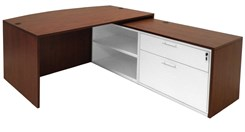 Cherry Bow Front Conference L-Desk w/Slide Out Return