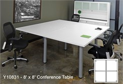 8' Square White Laminate Conference Table