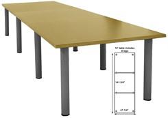 12' Rectangular Post Leg Conference Table