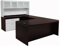 Mocha Bow Front Conference U-Desk w/Glass Door Hutch