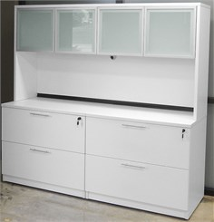 White Lateral File Credenza w/Hutch